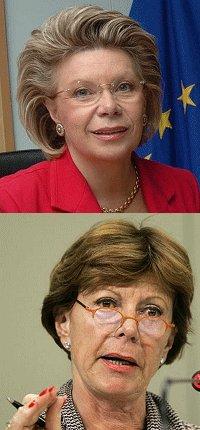 Le commissarie europee Viviane Reding e Neelie Kroes
